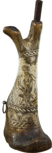 Military & Patriotic:Pre-Civil War, Magnificent Scrimshaw Carved Bone 17th Century European Powder Flask....
