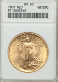 Saint-Gaudens Double Eagles: , 1907 $20 Arabic Numerals MS60 ANACS. NGC Census: (133/9472). PCGSPopulation (106/13043). Mintage: 361,667. Numismedia Wsl....