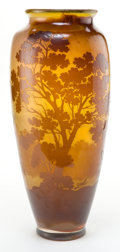 Glass, GALLE TALL POLISHED GLASS LANDSCAPE VASE . Amber polished glass with amber overlay in a lakeside summer landscape motif, cir...