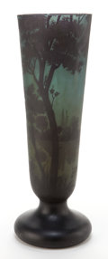 Art Glass:Daum, DAUM TALL GLASS LANDSCAPE VASE . Green glass with black overlay,etched in evening lakeside landscape motif, circa 1900 . Ma...