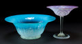 Art Glass:Tiffany , TIFFANY STUDIOS PASTILE GLASS BOWL AND TAZZA. Blue glass bowl withtextured pulled feather motif and pink quilted glass tazz...(Total: 2 Items)