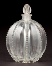 R. LALIQUE CLEAR GLASS GREGOIRE PERFUME BOTTLE AND STOPPER Circa 1927 Molded: