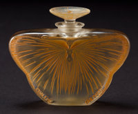 R. LALIQUE CLEAR AND FROSTED GLASS D'HERAUD LA PHALENE PERFUME WITH SEPIA PATINA