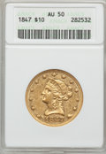 Liberty Eagles: , 1847 $10 AU50 ANACS. NGC Census: (112/492). PCGS Population(79/127). Mintage: 862,258. Numismedia Wsl. Price for problem f...