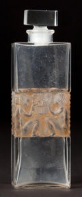 Glass, R. LALIQUE CLEAR GLASS FORVIL TROIS VALSES PERFUME WITH SEPIA PATINA . Circa 1929 . Molded: R. LALIQUE, FRANCE ...