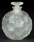 Art Glass:Lalique, R. LALIQUE CLEAR AND FROSTED GLASS D'HERAUD SEMIS DE FLEURSPERFUME WITH BLACK ENAMEL AND STOPPER . Circa 1923. ...