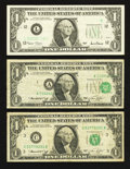 Error Notes:Error Group Lots, Three $1 FRN Errors.. ... (Total: 3 notes)