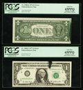 Error Notes:Ink Smears, Fr. 1908-K $1 1974 Federal Reserve Note. PCGS Gem New 65PPQ;. Fr.1909-E $1 1977 Federal Reserve Notes. Two Examples. PCGS... (Total:4 notes)