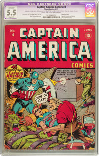 Captain America Comics #4 (Timely, 1941) CGC Apparent FN- 5.5 Slight (P) Light tan to off-white pages