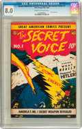 Golden Age (1938-1955):Non-Fiction, Great American Comics Presents - The Secret Voice #1 (AmericanFeatures Syndicate, 1945) CGC VF 8.0 Cream to off-white pages....