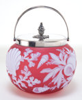 Art Glass:Webb, THOMAS WEBB GLASS BISCUIT BARREL . Rose glass with white overlay,etched in sealife motif, with silver-plated cover and hand...