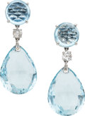 Estate Jewelry:Earrings, Aquamarine, Diamond, White Gold Earrings, Assil. ...