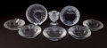 Art Glass:Lalique, SIX LALIQUE GLASS LION ASHTRAYS WITH MATCHING LIGHTER AND A FISHASHTRAY . Circa 2000. Engraved: Lalique, France . 5-3/4...(Total: 8 Items)