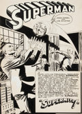 "Original Comic Art:Splash Pages, Joe Shuster Studio Unpublished Superman Story ""Supermite"" SplashPage 1 Original Art (c. 1944)...."