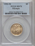 Modern Issues: , 1992-W G$5 Olympic Gold Five Dollar MS70 PCGS. PCGS Population(335). NGC Census: (0). Mintage: 27,732. Numismedia Wsl. Pri...