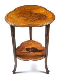 GALLE MARQUETRY CHAT GUERIDON TABLE Top median shelf patterned with cats, circa 1900 Marks: Galle