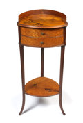 Glass, GALLE MARQUETRY TWO-DRAWER STAND . Galleried top patterned with landscape, two convex drawers with gilt bronze butterfly pul...