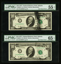 Error Notes:Ink Smears, Fr. 1908-A $1 1974 Federal Reserve Notes. Two Consecutive Examples.PCGS Choice New 63-Very Choice New 64; Fr. 2023-F $10 1977...(Total: 4 notes)
