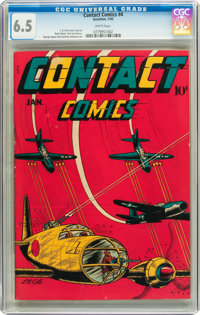 Contact Comics #4 (Aviation Press, 1945) CGC FN+ 6.5 White pages