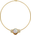 Estate Jewelry:Necklaces, Opal, Diamond, Gold Slide-Necklace . ...