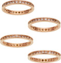 Estate Jewelry:Rings, Gentleman's Colored Diamond, Pink Gold Eternity Bands. ...