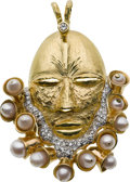 Estate Jewelry:Pendants and Lockets, Diamond, Cultured Pearl, Gold Pendant-Brooch. ...