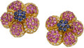 Estate Jewelry:Earrings, Ruby, Sapphire, Diamond, Gold Earrings. ...