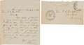 Autographs:U.S. Presidents, Abraham Lincoln Autograph Letter Signed as presidentialcandidate.... (Total: 2 Items)