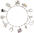 Estate Jewelry:Bracelets, Art Deco Diamond, Ruby, Enamel, Platinum, White Gold CharmBracelet. ...