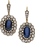 Estate Jewelry:Earrings, Victorian Sapphire, Diamond, Silver-Topped Gold Earrings. ...
