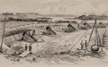 """Military & Patriotic:Civil War, Civil War: Original Pen and Ink Drawing of """"View from Union Battery Number 4, Near Yorktown, Virginia"""", signed, """"E.J.M."""". Th..."""
