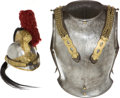 Militaria:Armor, French Cuirassier Helmet and Breastplate, c.1910. The Frenchcuirass breastplate and backplate are complete with chain-link ...(Total: 2 Items)