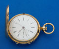 Timepieces:Pocket (pre 1900) , Henry Beguelin Massive Gold 1/4 Second Jump Independent Seconds Two Train Hunters Case. ...