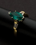Estate Jewelry:Rings, Gold & Synthetic Emerald Ring. ...