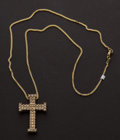 Estate Jewelry:Pendants and Lockets, Diamond Gold Cross. ...