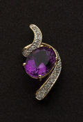 Estate Jewelry:Pendants and Lockets, Amethyst & Diamond Gold Pendant. ...