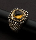 Estate Jewelry:Rings, Citrine 18k & Silver Gold Ring. ...
