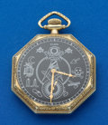 Timepieces:Pocket (post 1900), Elgin Octagon Watch With Masonic Dial. ...