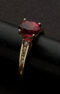 Estate Jewelry:Rings, Red Synthetic Red Stone Gold Ring. ...