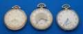 Timepieces:Pocket (post 1900), Three Pocket Watches Two Elgin's & One Illinois Abe Lincoln 12 Sizes Runners. ... (Total: 3 Items)
