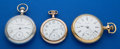 Timepieces:Pocket (post 1900), Three Pocket Watches Elgin 12 Size, Waltham 18 Size, AmericanWaltham 16 Size All Runners. ... (Total: 3 Items)