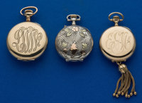 Three Pendant Watches, 14k Swiss, Multicolor Gold & Silver Swiss & O Size Gold Filled United States Watch Co...