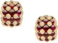 Estate Jewelry:Earrings, Diamond, Ruby, Gold Earrings, Asprey, French. ...
