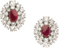 Estate Jewelry:Earrings, Ruby, Diamond, Gold Earrings, Van Cleef & Arpels, circa 1960.... (Total: 2 Pieces)
