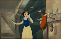 Snow White and the Seven Dwarfs Production Cel with Background Courvoisier Animation Art (Disney, 1937)