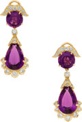 Estate Jewelry:Earrings, Amethyst, Diamond, Gold Earrings, Neiman Marcus. ...