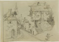 Animation Art:Production Drawing, Gustaf Tenggren Pinocchio Village Concept IllustrationOriginal Art (Disney, 1940)....