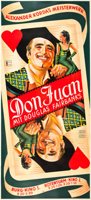 """The Private Life of Don Juan (United Artists, 1934). Austrian Three Sheet (49"""" X 108.5"""") and Original Concept..."""