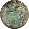 Commemorative Silver: , 1915-S 50C Panama-Pacific Half Dollar--Obverse ImproperlyCleaned--NCS. Deep sea-green and golden-brown patina embracesthi...