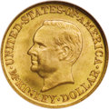 Commemorative Gold: , 1916 G$1 McKinley MS67 PCGS. Satiny and well frosted with a fewdelicate speckles of coppery patina on the obverse. Faint o...